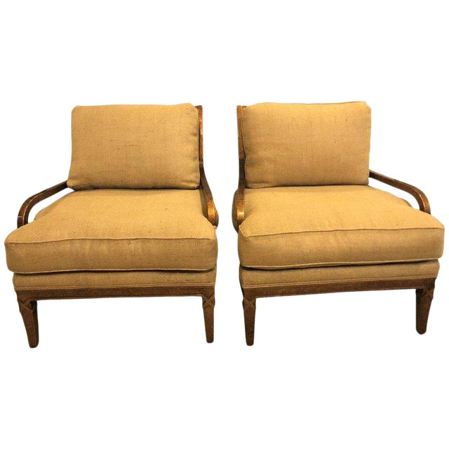 Hollywood Regency Pair of Burlap Faux Marbleized Bergère or Armchairs For Sale