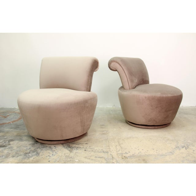 Recently reupholstered in Tan Velvet Pair of Vladimir Kagan for Weiman Swivel Chairs.