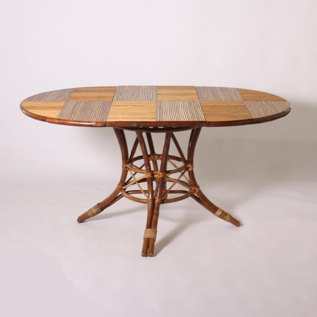 French Bamboo Round Table With Leaf C. 1960 For Sale - Image 9 of 9