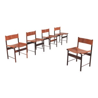 Zalszupin Jacaranda Dining Chairs With Cognac Saddle Leather Seating For Sale
