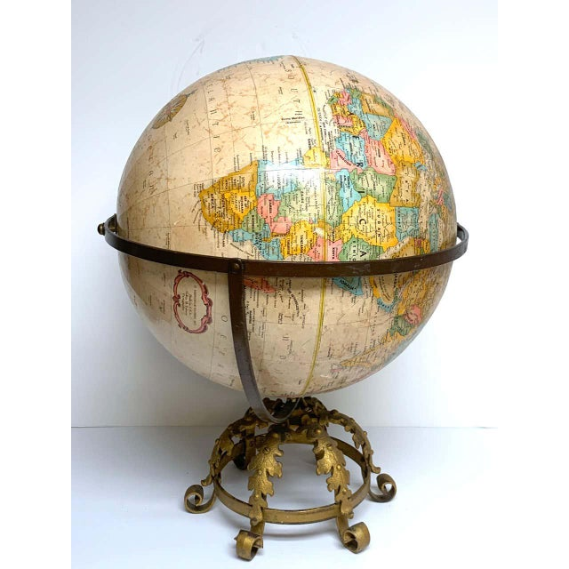 Pre Wwii Globe on Art Deco Wrought Iron Stand by Repogle For Sale - Image 9 of 13