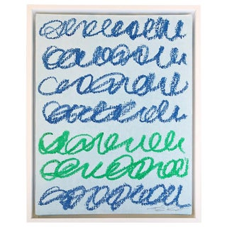 Musings in Blue & Green Contemporary Painting For Sale