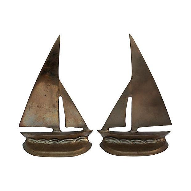 Brass Sailboat Bookends - Pair - Image 1 of 5