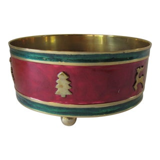 Red & Green Enamel Over Brass Christmas Holiday Wine Coaster For Sale