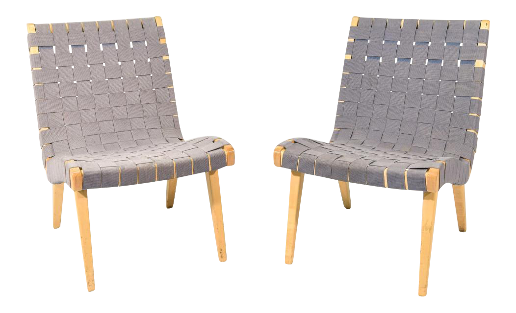 Jens Risom Maple U0026 Gray Webbing Lounge Chairs  A Pair