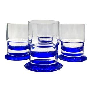 1970s Vintage Sommerso Crystal Old Fashioned Rocks Glasses - Set of 4 For Sale