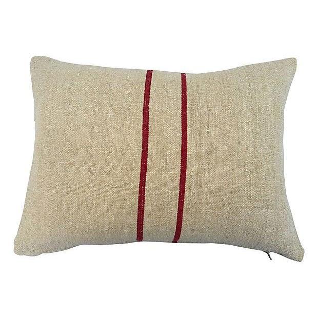 English Grain Sack Pillows - Pair - Image 4 of 4