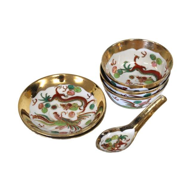 Chinese Porcelain Soup Bowl Set - 6 Pieces For Sale