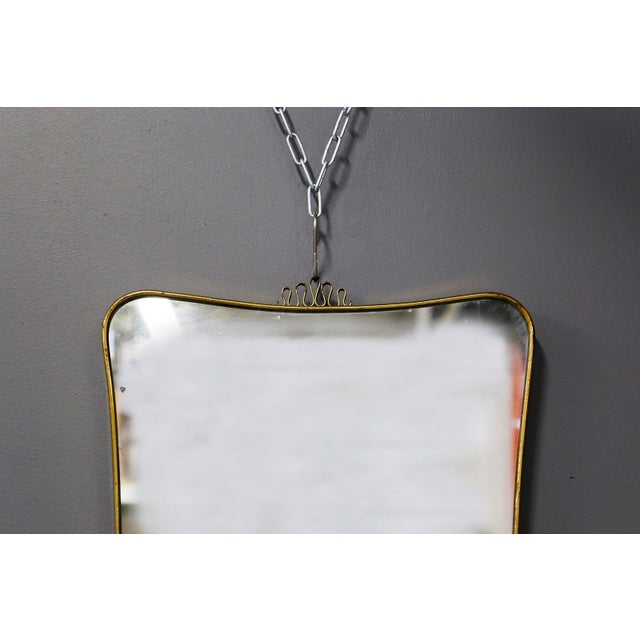 Mid-Century Modern Italian MidCentury Mirror Attributed to Gio Ponti in Brass, 1950s For Sale - Image 3 of 7