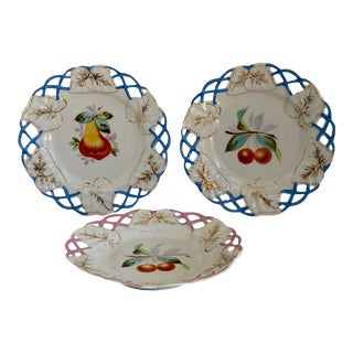 Vintage French Reticulated Fruit Plates - Set of Three For Sale