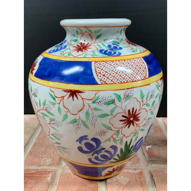Chinese Vintage Chinese Porcelain Colorful Hand Painted Floral Vase For Sale - Image 3 of 9