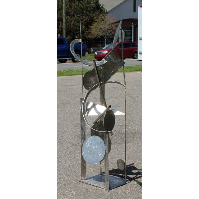 Contemporary Modern Tall Stainless Steel Abstract Outdoor Floor Sculpture Signed For Sale In Detroit - Image 6 of 8