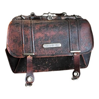 1800s Doctors Bag, Black Leather Medical Suitcase For Sale