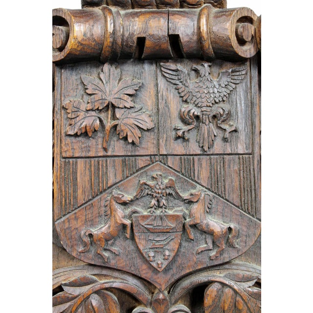 Late 19th Century German Carved Oak Coat of Arms For Sale - Image 5 of 9