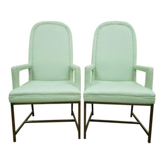 1970s Modern Upholstered Arm Chairs- A Pair For Sale