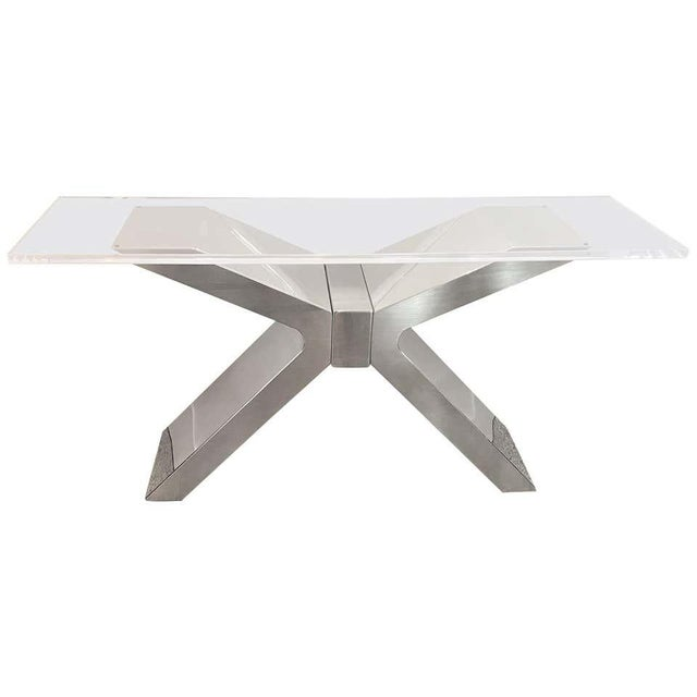 X-Form Console Table in Stainless Steel and Lucite For Sale - Image 13 of 13