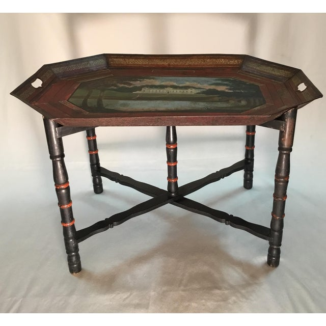 19th C. Scenic Hand Painted Tole Tray Table - Image 6 of 13