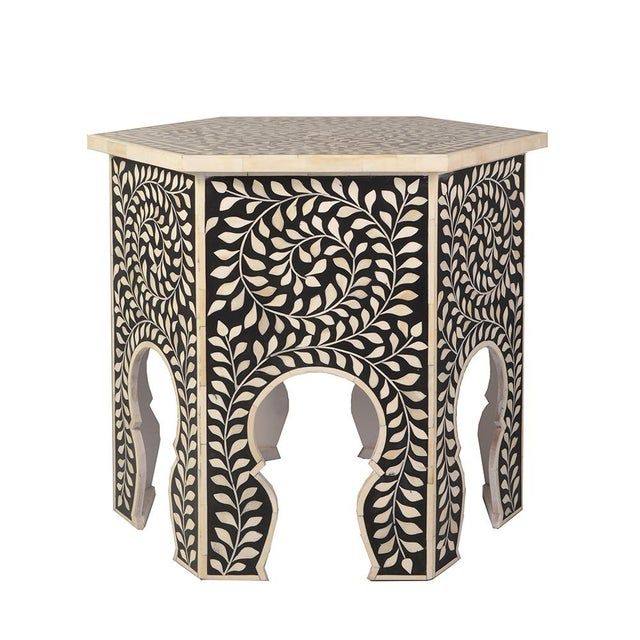 2020s Imperial Beauty Moroccan Accent Table in Black/White For Sale - Image 5 of 5