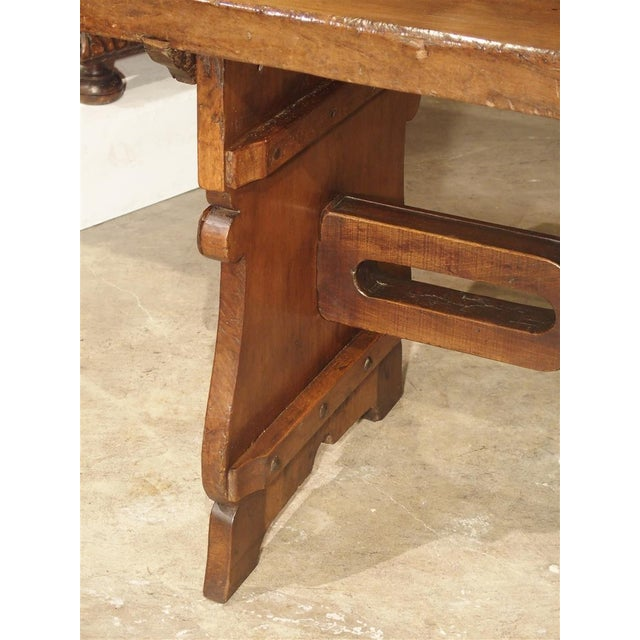 Antique Walnut Refectory Table From Tuscan Mountain Region C. 18th Century For Sale - Image 12 of 13