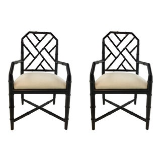 Bungalow 5 Asian Modern Chippendale Style Black Side Chairs Pair For Sale