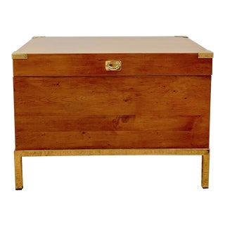 1970s Mid-Century Modern Wood and Brass Trunk For Sale