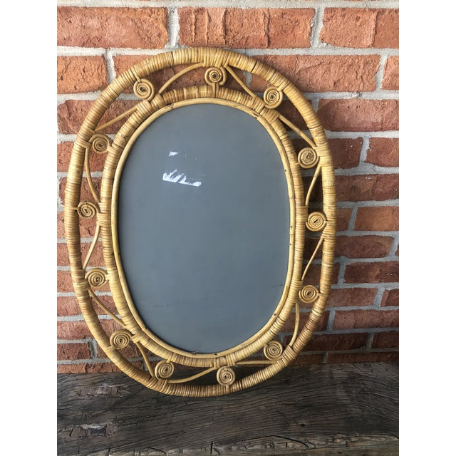 Hollywood Regency Boho Chic Wicker Peacock Mirror For Sale - Image 9 of 13