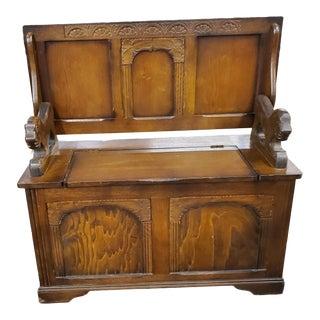 Antique Carved Oak Monks Bench For Sale