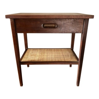 Mid Century Jack Cartwright Founders Walnut Cane Nightstand For Sale