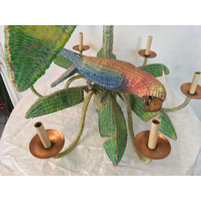 Mario Torres Mario Torres Wicker Parrot Chandelier For Sale - Image 4 of 5
