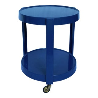 1970s Mid-Century Modern Kartell Style Italian Cobalt Blue Plastic Two-Tier Rolling Cart For Sale