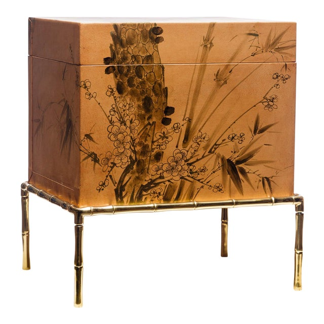 Hand-Painted Natural Tan Leather Box on Handcrafted Brass Stand as Side Table For Sale