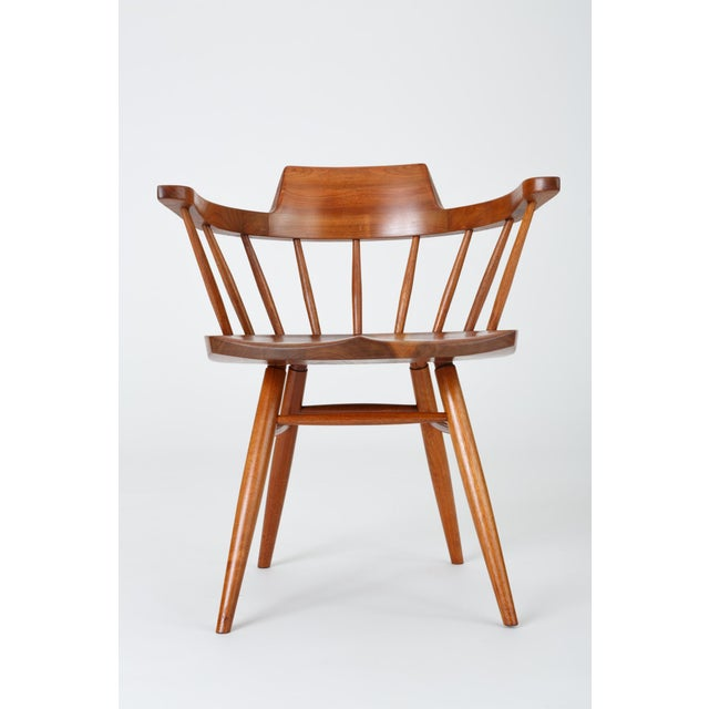 Wood Single Black Walnut Captain's Chair by George Nakashima Studio For Sale - Image 7 of 13