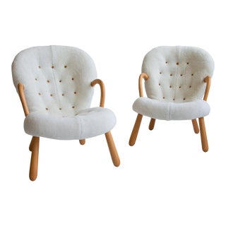Pair of Philip Arctander Clam Chairs in Shearling, Mid-Century, Scandinavian For Sale
