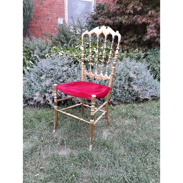Vintage Italian Chiavari Chair in Gold Over Wood For Sale - Image 11 of 12