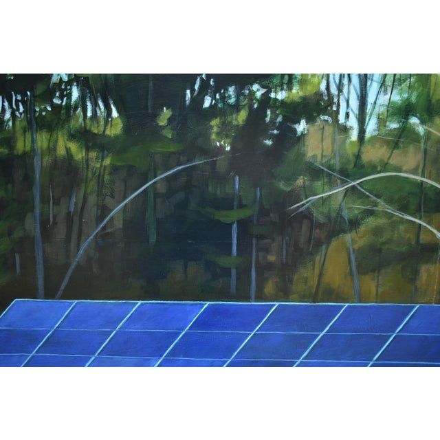 """Blue """"Back Yard Solar Panels"""" Painting by Stephen Remick For Sale - Image 8 of 13"""