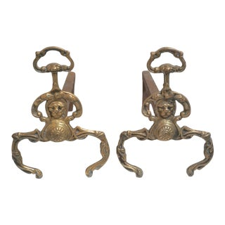 Antique French Brass Firedogs Chenet Andirons-19th Century For Sale