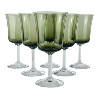 Mid 20th Century 6 Vintage Fostoria Glamour Green Tulip Wine Water Stems - Set of 6 For Sale