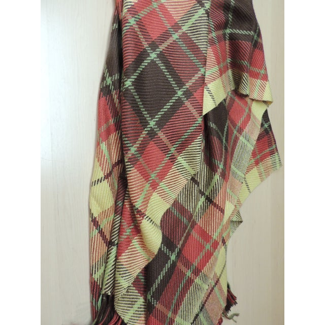 Large Yellow and Red Plaid Throw With Hand-Knotted Fringes For Sale - Image 4 of 6