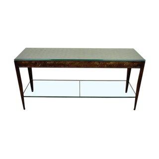Contemporary Metal Woven Copper Glass Lattice Console Table For Sale