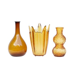 Amber Glass Vases, Set of 3 Preview