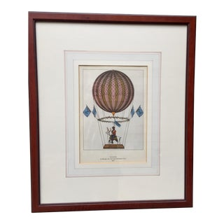 French Hot Air Balloon of Margat Ascending on His Stag in 1817 For Sale