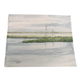 """In the Weeds"" Original Watercolor Seascape Painting For Sale"