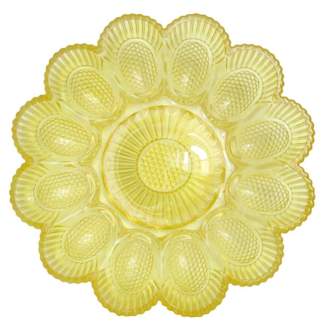 Vintage Yellow Deviled Egg Plate - Image 1 of 4