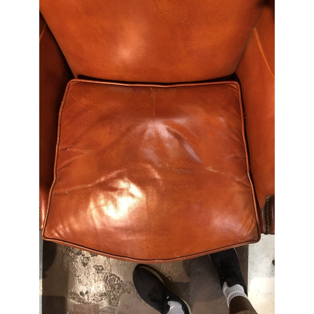 Traditional Vintage Georgian Style Orange Leather Arm Chair With Brass Tacks & Stretcher For Sale - Image 3 of 13