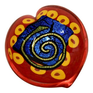 Signed Mad Art Dichroic Art Glass Heart Paperweight For Sale