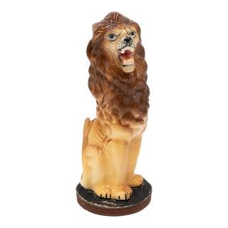 Vintage Roaring Lion Ceramic Sculpture For Sale