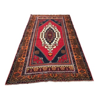 1960s Vintage Turkish Oushak Hand-Knotted Rug - 4′9″ × 9′3″ For Sale