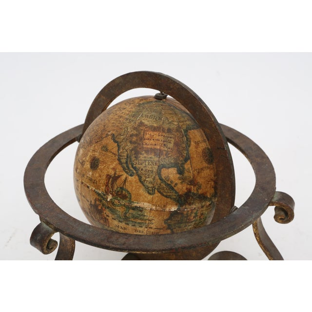 Italian Mini Old World Globe with Brass stand For Sale - Image 5 of 10