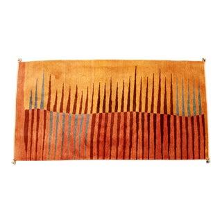 Modern Sherkaloo Rectangular Area Rug 1980s Red Brown Blue Orange For Sale