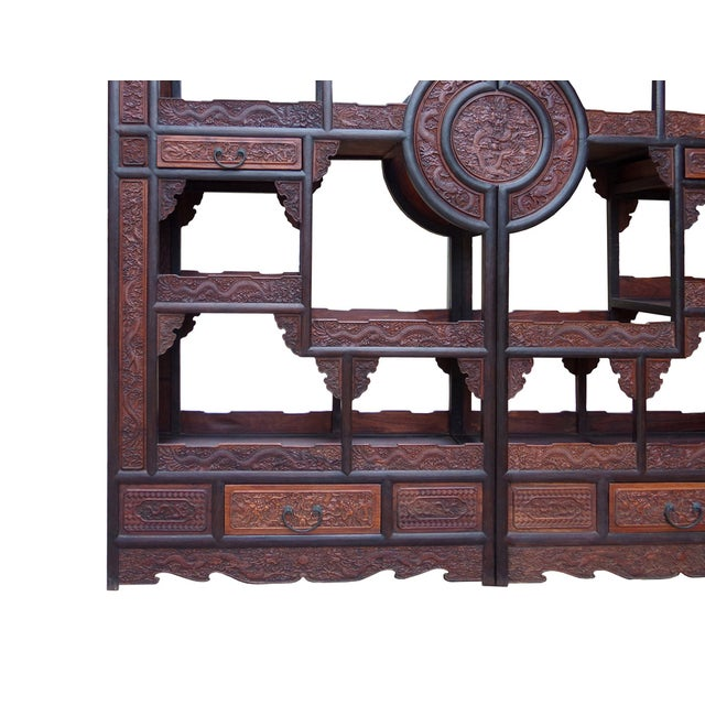 Chinese Rosewood Display Curio Cabinets - A Pair For Sale In San Francisco - Image 6 of 10